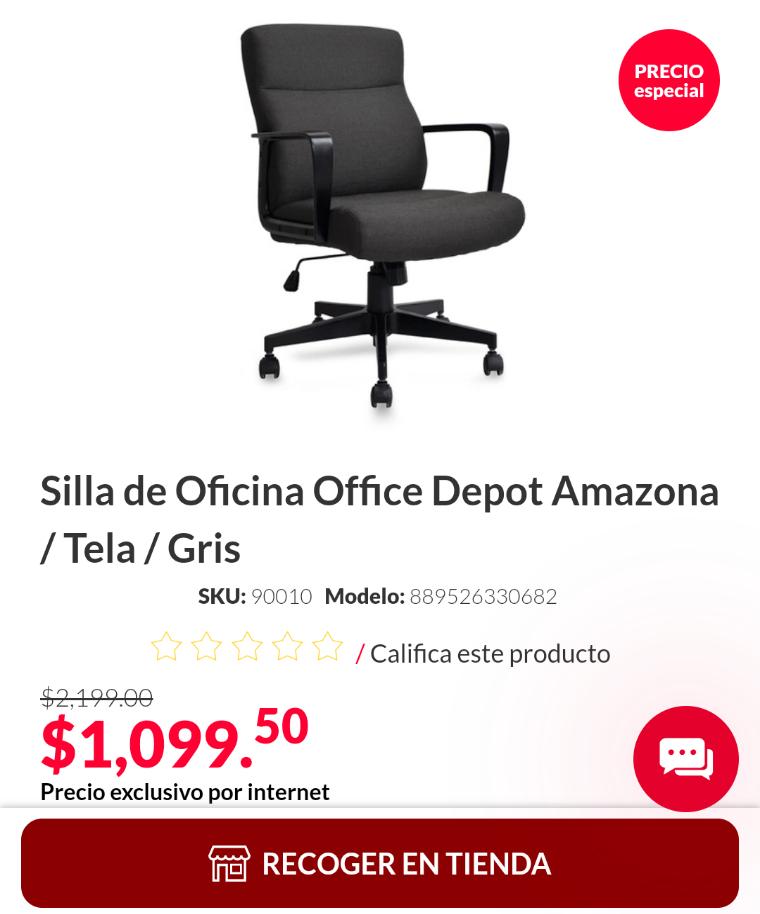 Office Depot en línea: Silla de Oficina Amazona al 50% de descuento sobre precio ya rebajado + bonificaciones.