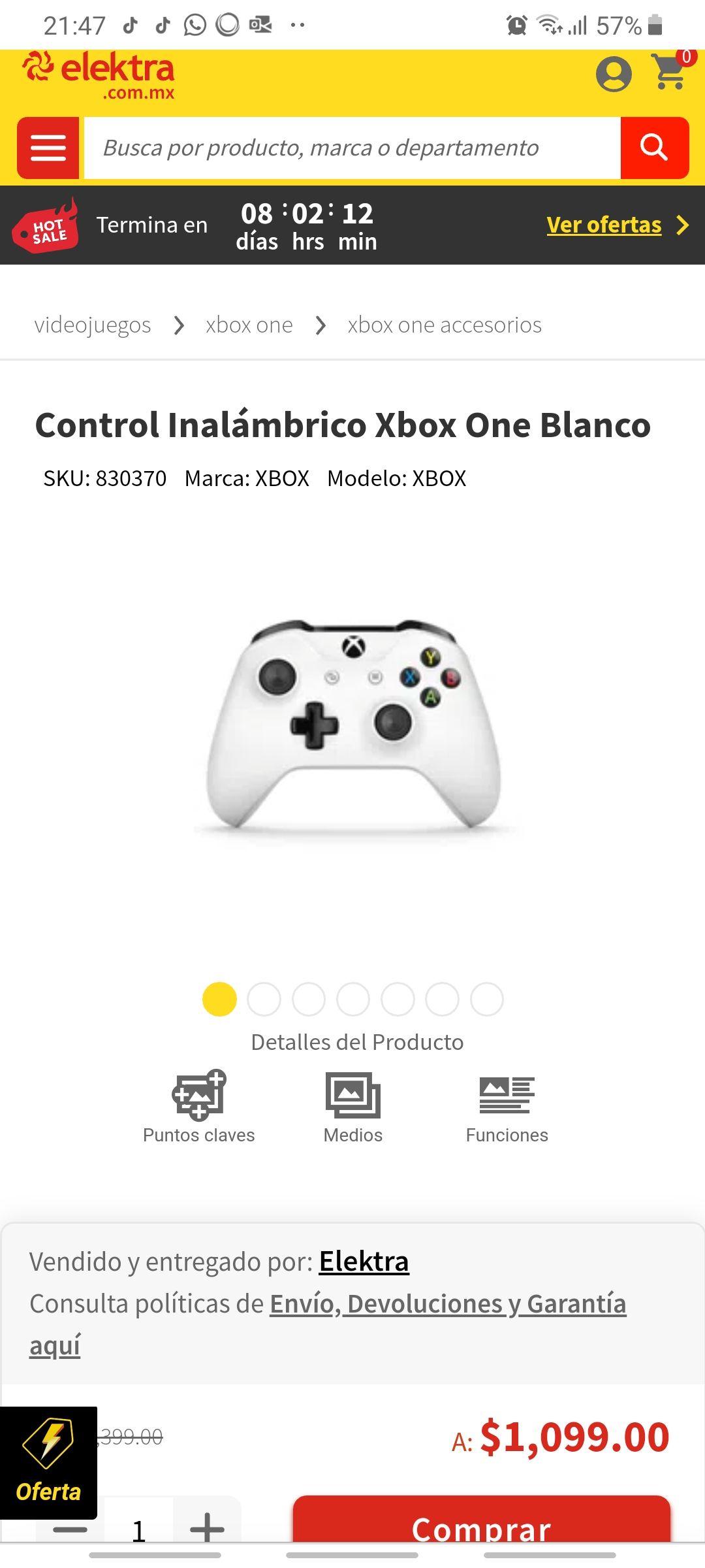 Elektra: Control Inalámbrico de Xbox One color blanco