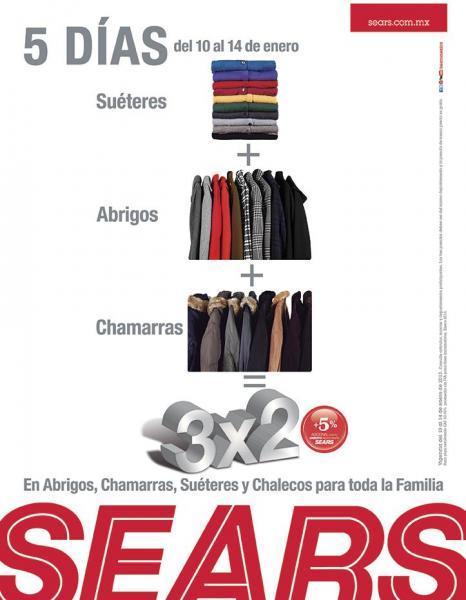 Sears: 3x2 en abrigos, chamarras, suéteres y chalecos