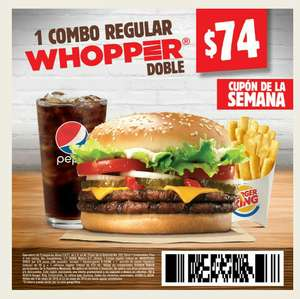 Burguer king App: Combo Regular Whopper doble
