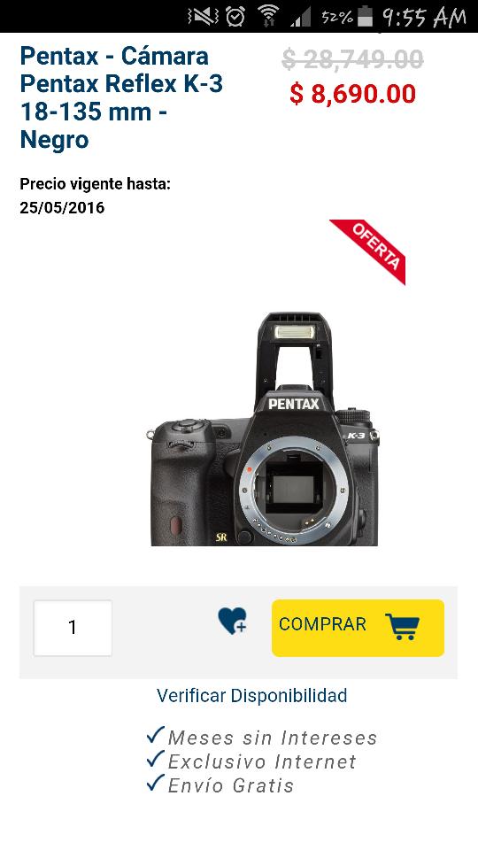 Best Buy en línea: Cámaras Pentax con 70% de descuento comprando por Internet