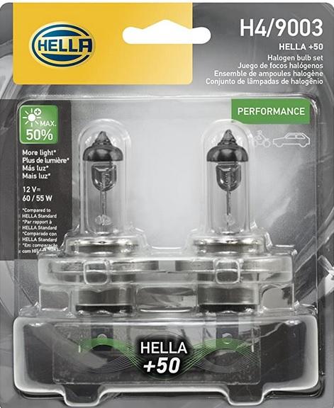 Amazon: Hella - Juego de focos (2) halógenos H4, 50% - 60/55w, Twin Blister