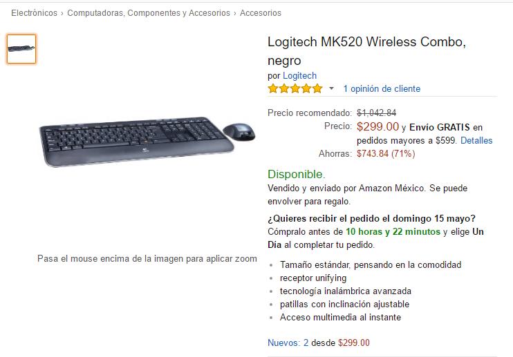 Amazon México: Kit Teclado Y Mouse Inalambrico Logitech Mk520 a $299