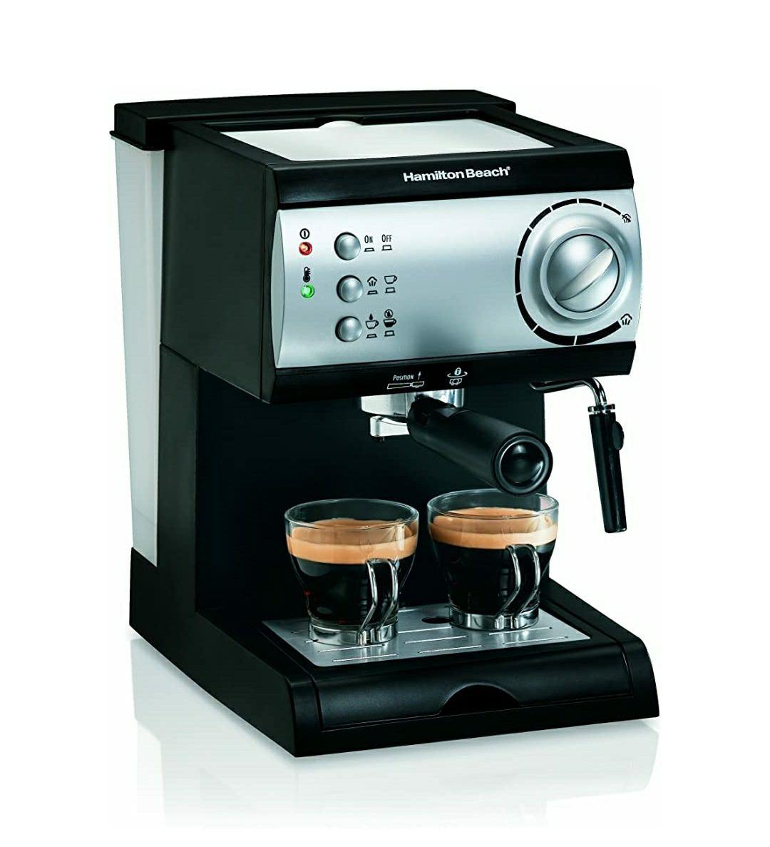Amazon: Hamilton Beach Cafetera Espresso, 2 Tazas, Cappuccino, Mocha y Latte