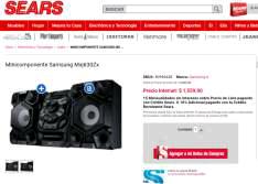 Sears en línea: Minicomponente Samsung MXJ630ZX a $1,559.00 ($1,403.10 pagando con tarjeta Sears)