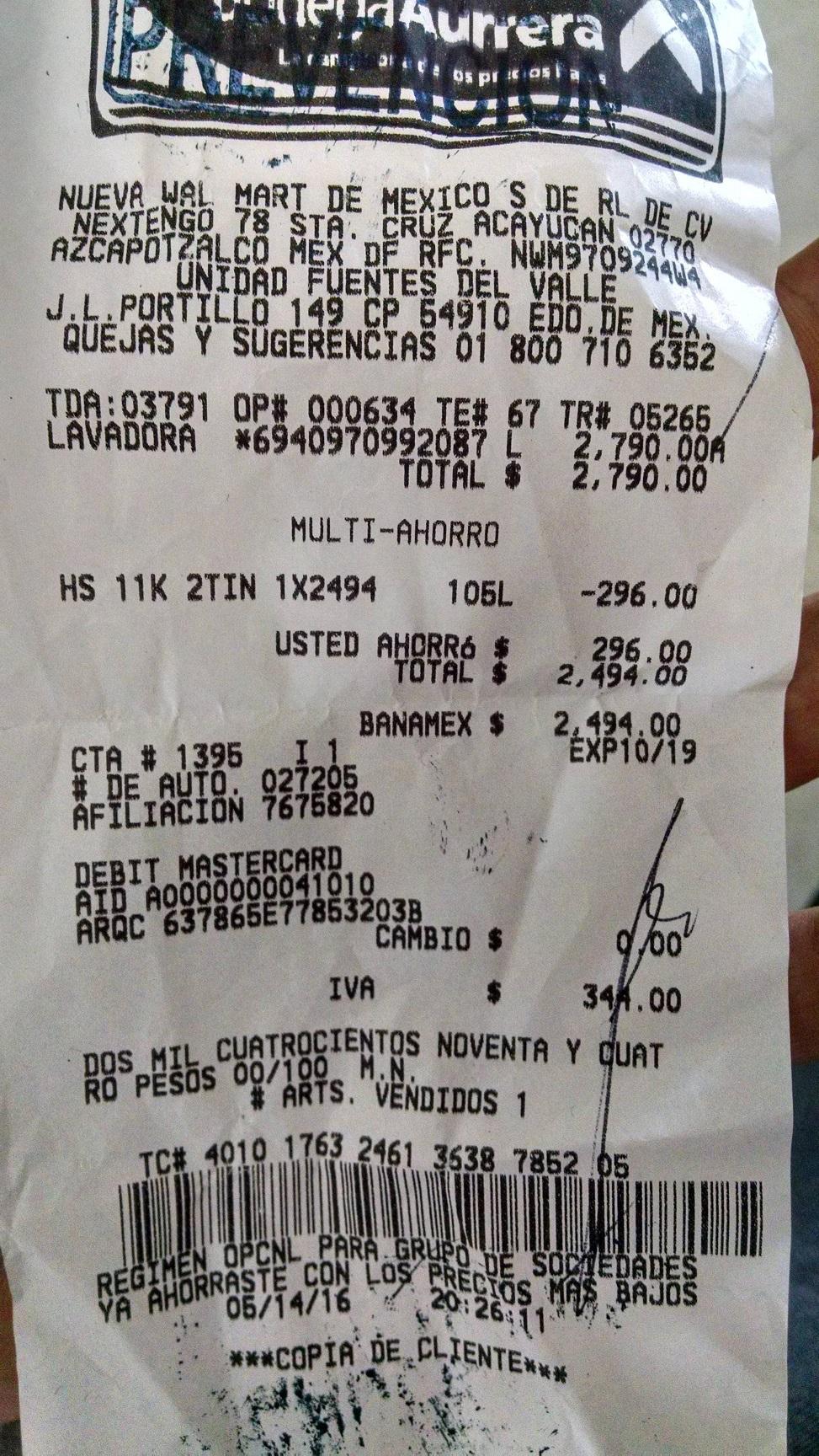 Bodega Aurrerá: Lavadora Hisense 11Kg a $2,494