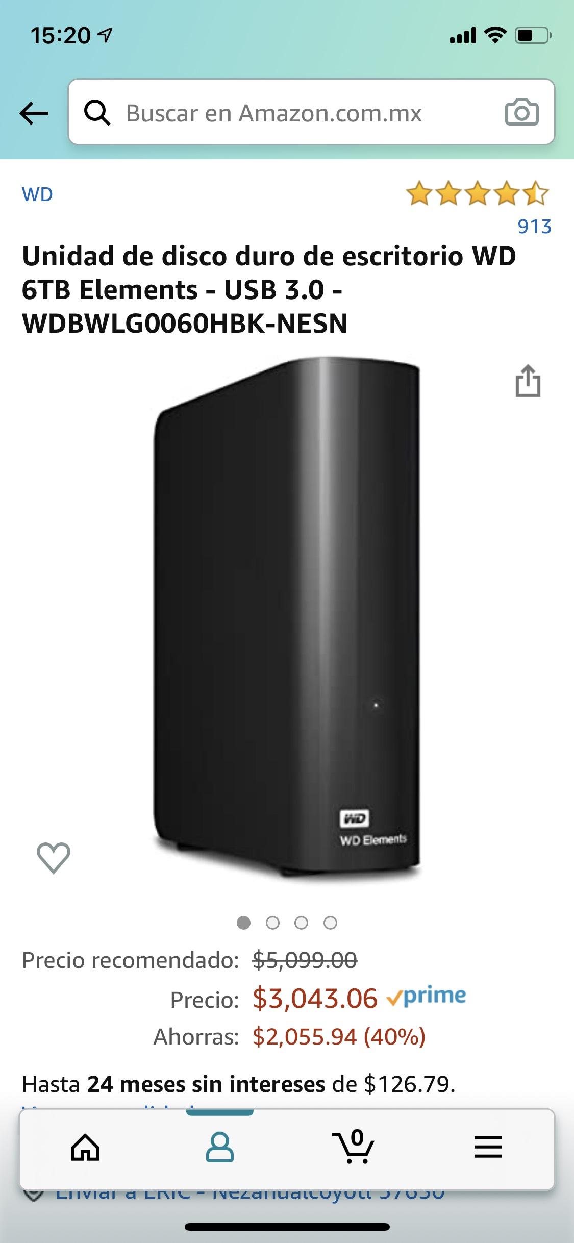 Amazon: Disco duro 6Tb de escritorio (PC, Xbox, PS4) Western Digital
