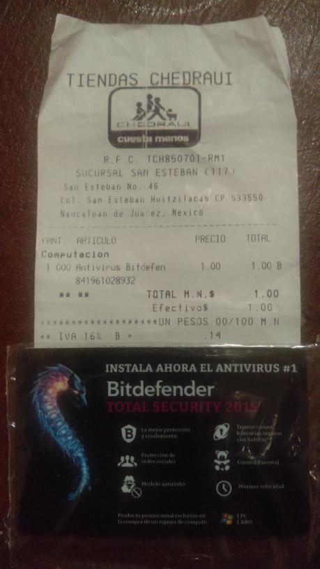 Chedraui: antivirus Bitdefender a $1