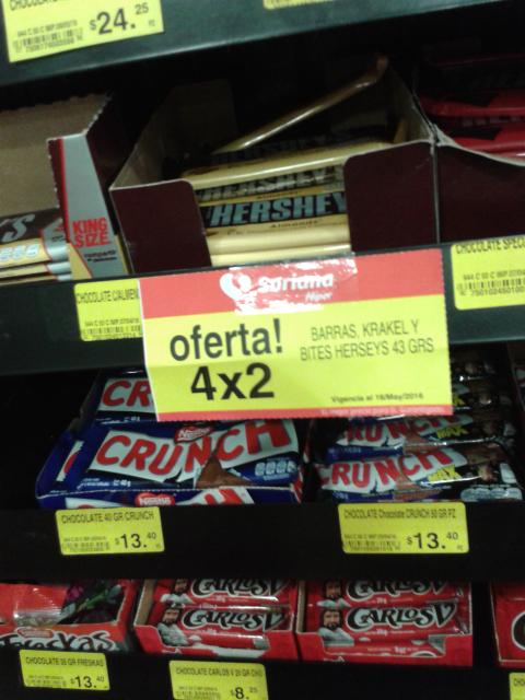 Soriana: Barras krakel y bites herseys 4x2