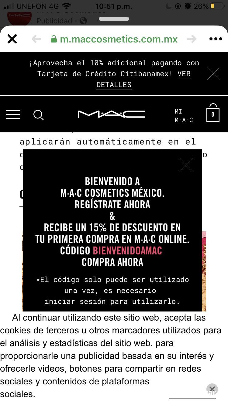 Maquillaje MAC: 15% de descuento en tu primera compra y más