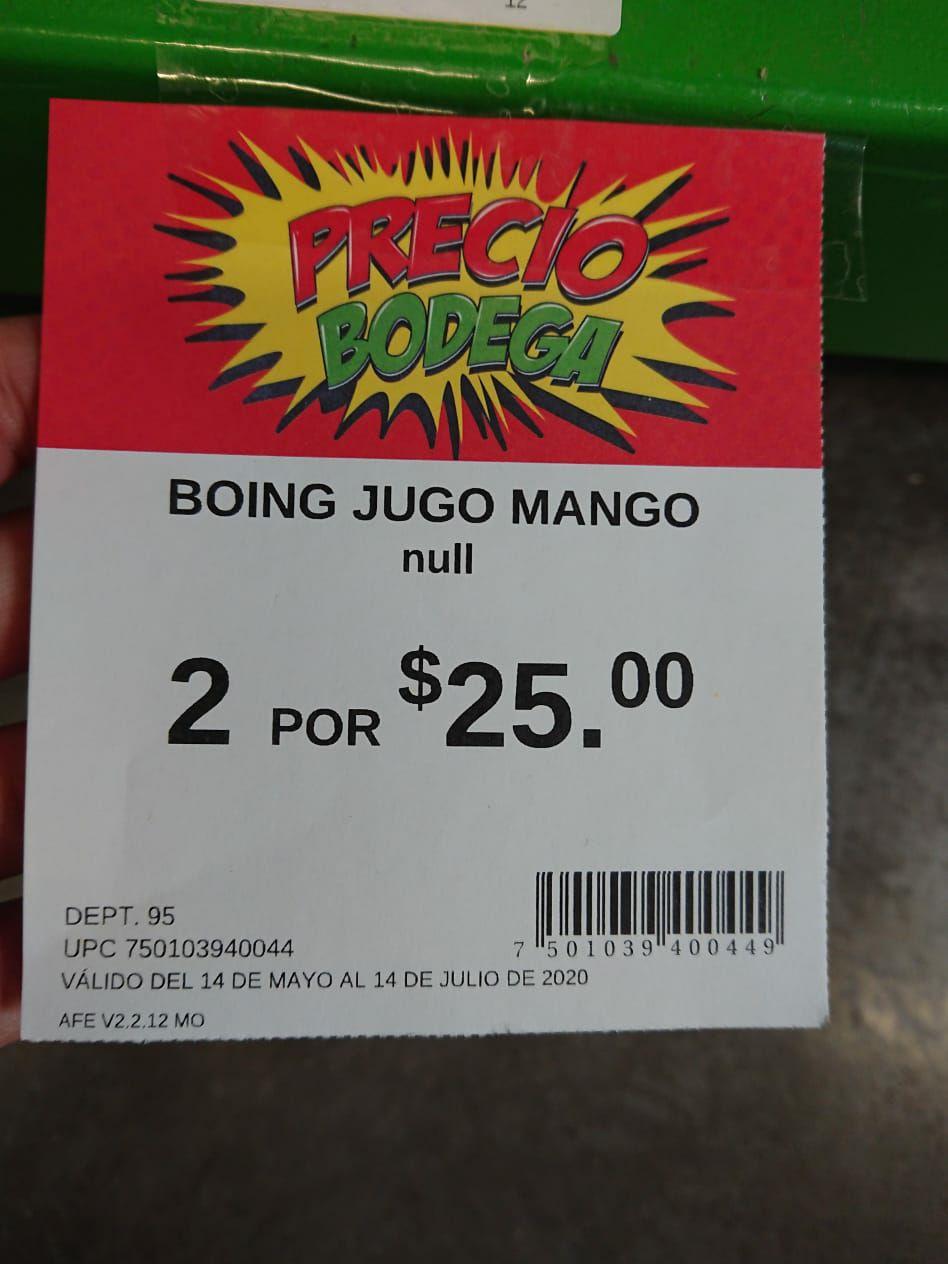 Bodega Aurrerá: Jugos Boing 1 lt 2 x $25
