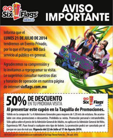 Six Flags México: cupón 50% de descuento