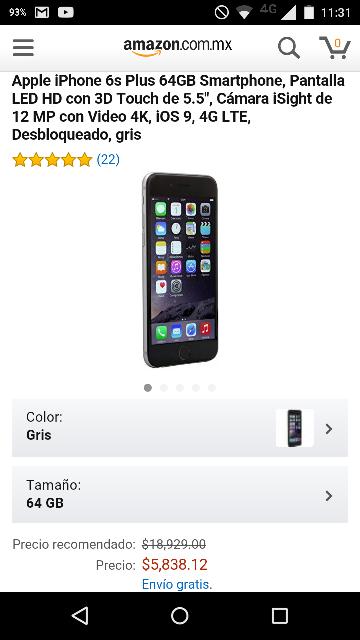 Amazon MX: iPhone 6S Plus de 64Gb gris a $5,838