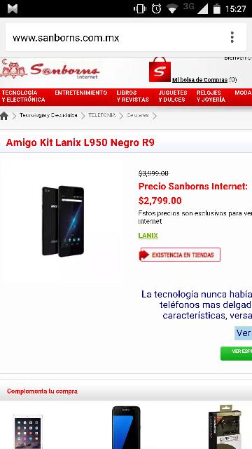 Sanborns en línea: Lanix L950 a $2,799