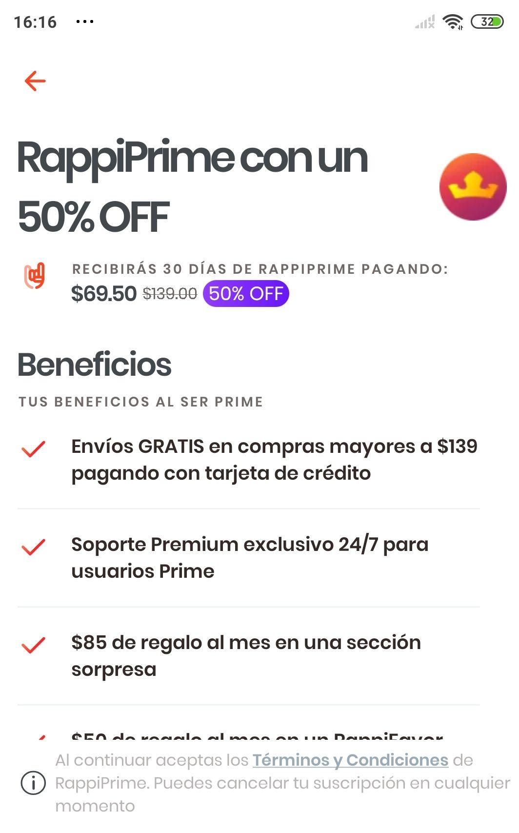Rappi: 50%off en suscripción mensual