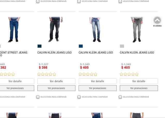 Liverpool en línea jeans calvin klein 70% de descuento