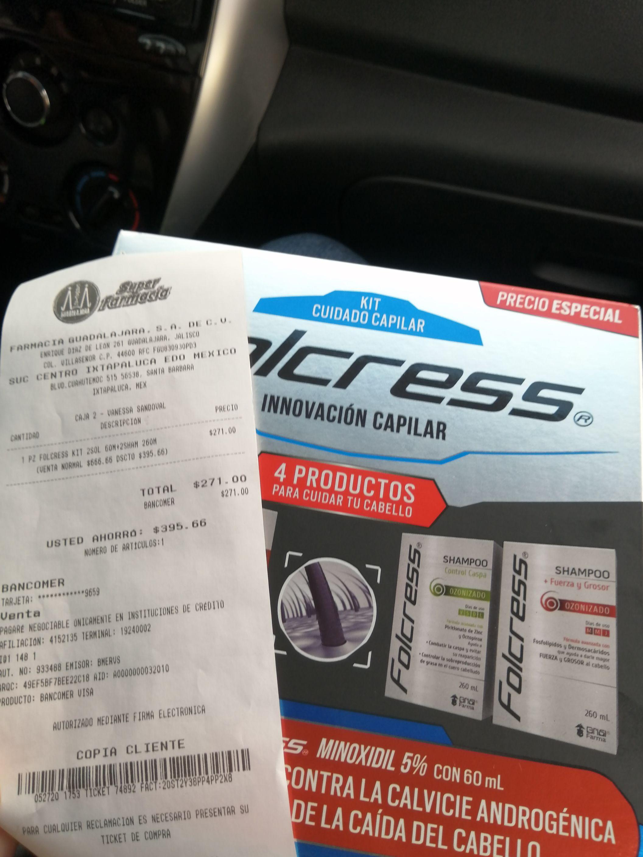 Farmacia Guadalajara: 2 Minoxidil Folcress + 2 shampoo