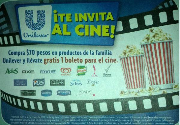 Boleto para el cine gratis comprando $70 de productos Unilver en Farmacias Benavides