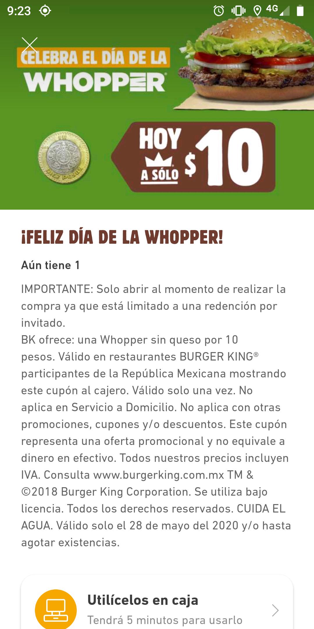 Burger King: Whopper a solo $10.00
