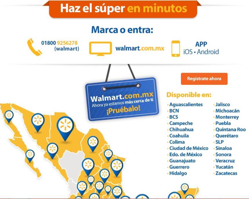Walmart en línea Súper: Envío Gratis (opciones a escoger)