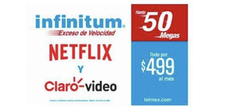 Infinitum Telefonía Ilimitada y Netflix Hasta 50 MB por $499