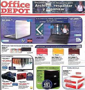 "Folleto Office Depot: ampliaciones a $1, pantalla LED 40"" $7,499 y más"