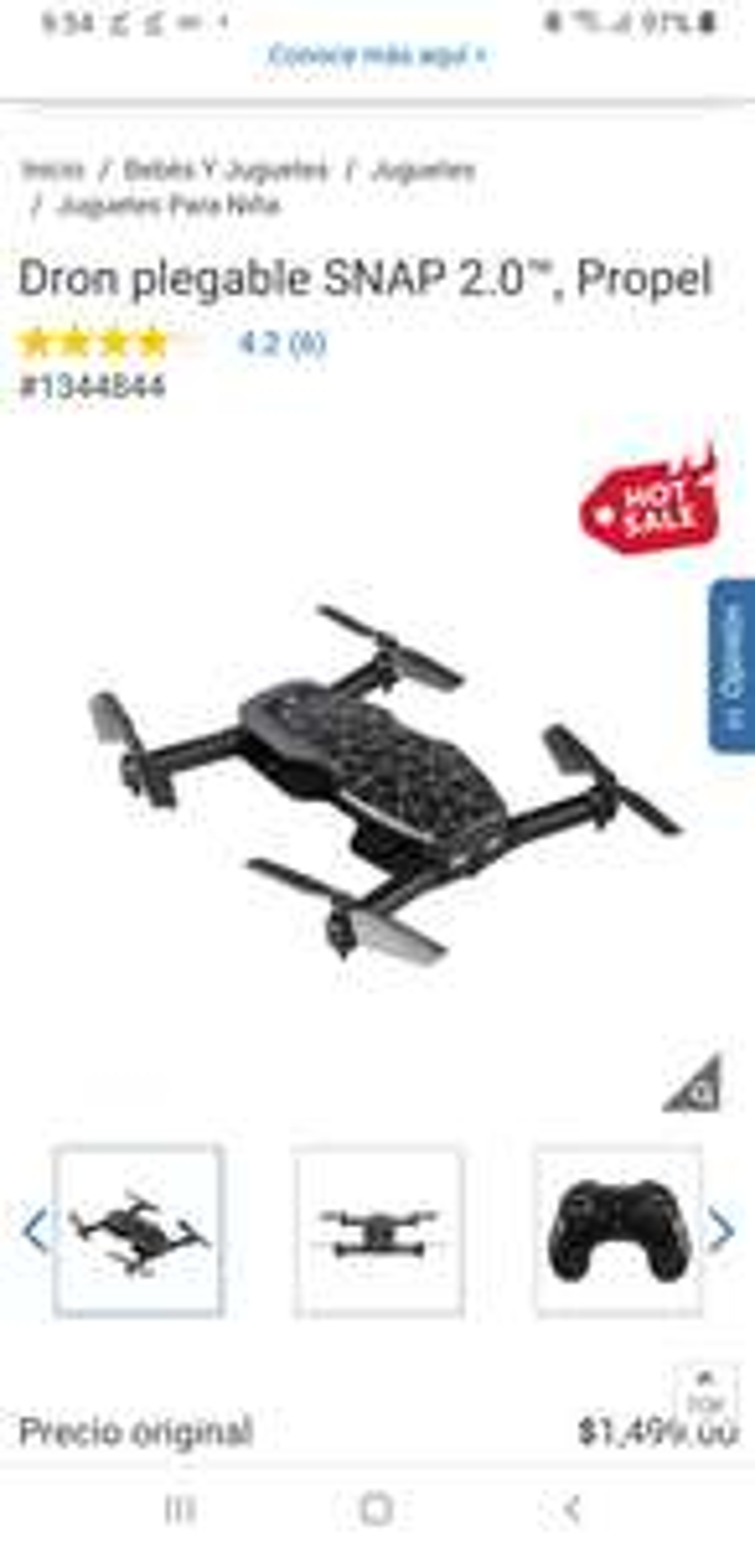 Costco: Dron plegable SNAP 2.0™, Propel
