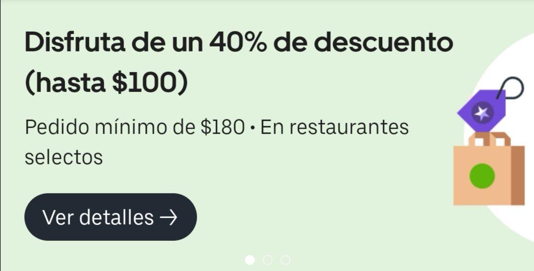 Uber Eats: 40% de descuento en restaurantes seleccionados SIN CUPON