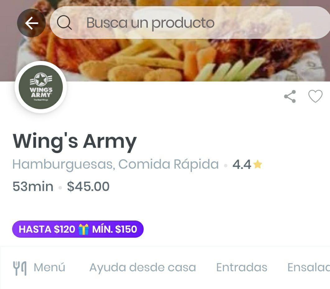 Rappi y Wings Army: $120 de descuento en Wing's Army (Pedido mínimo $150)