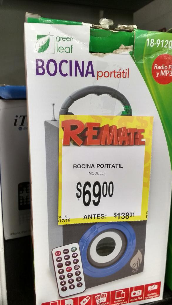 Bodega Aurrerá: Bocina portátil a $69 y más
