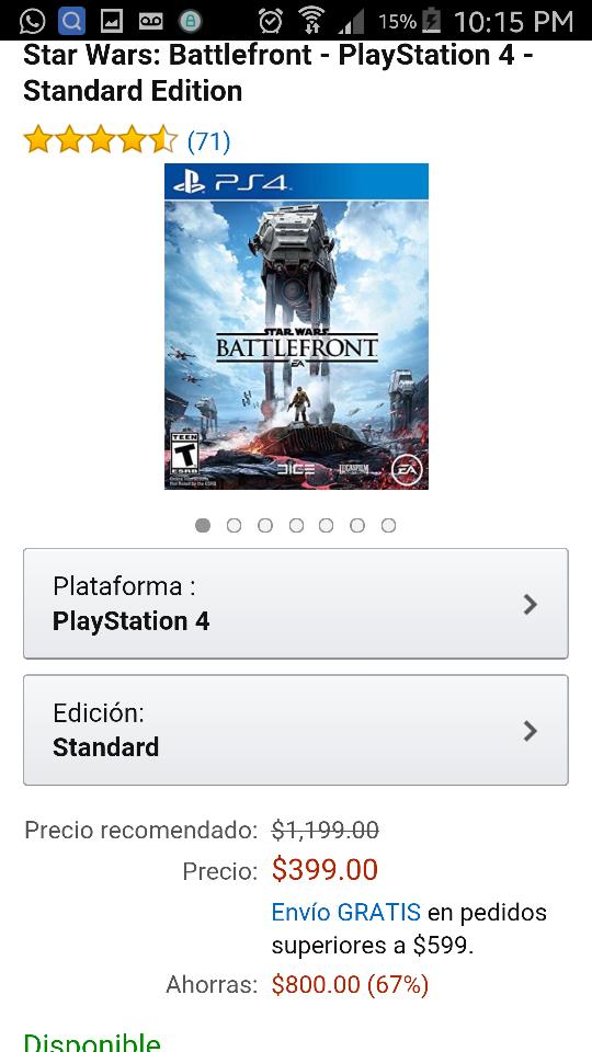Amazon: juego Battlefront para PS4 y Xbox One a $399