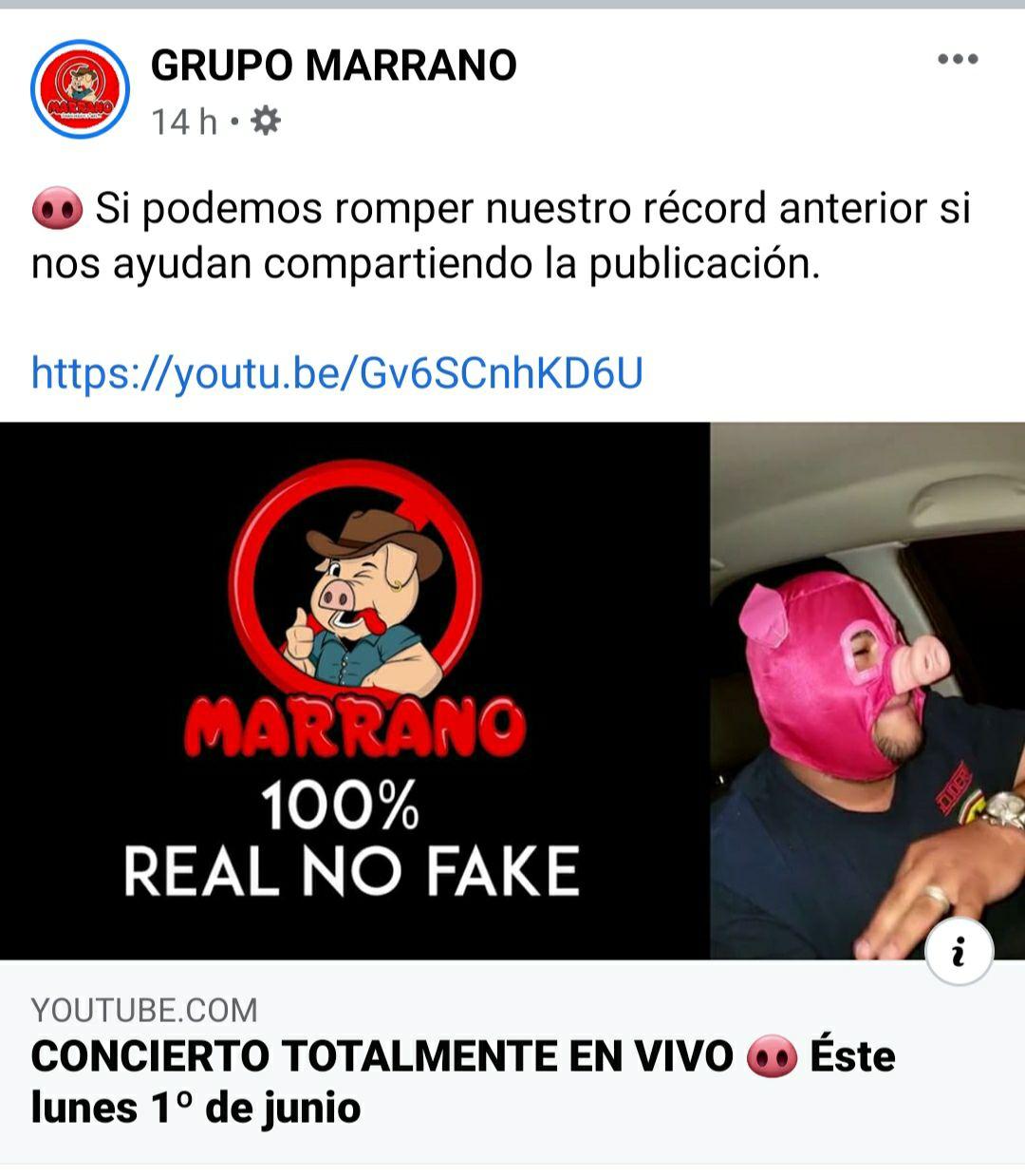 Concierto del grupo Marrano, por YouTube y Facebook