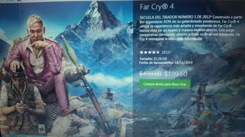 Xbox: Far Cry 4 a $199.6, Redident Evil a $164.5 sin ser Gold