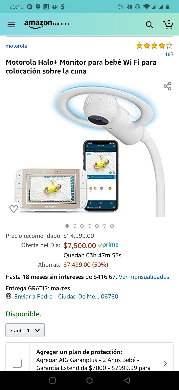 Amazon - Motorola Halo+ Monitor para bebé Wi Fi