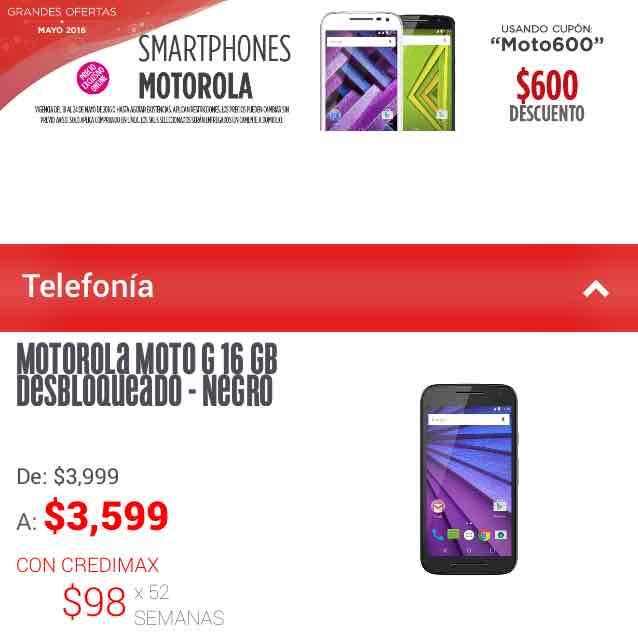 Elektra en línea: cupón de $600 de descuento en smartphones Motorola