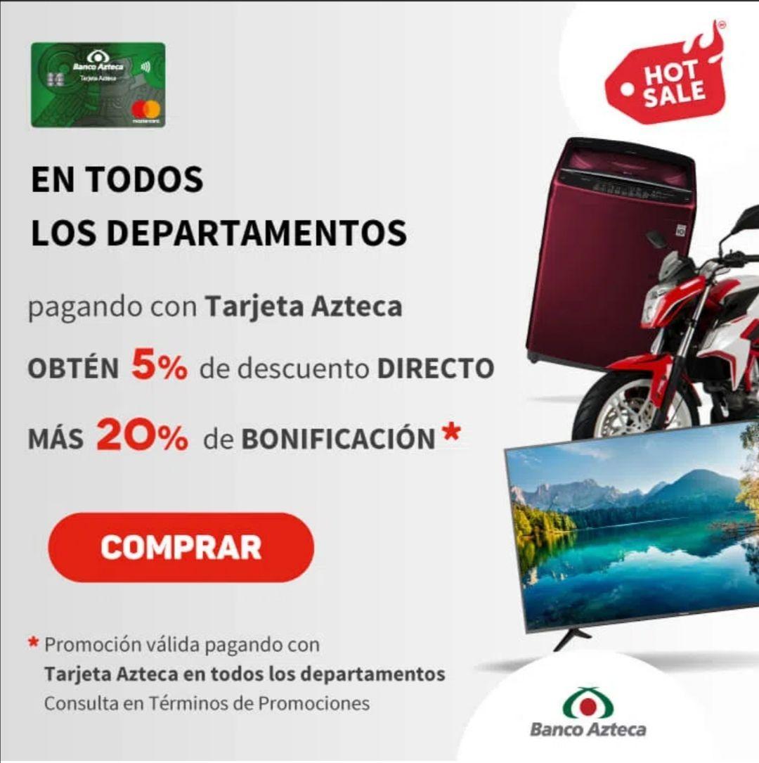 Elektra: Paga con Tarjeta azteca y obtén 5% de descuento directo mas 20% de bonificacion