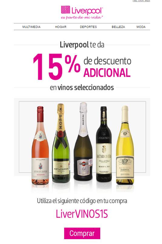 Liverpool en línea: Cupon 15% descuento en vinos seleccionados
