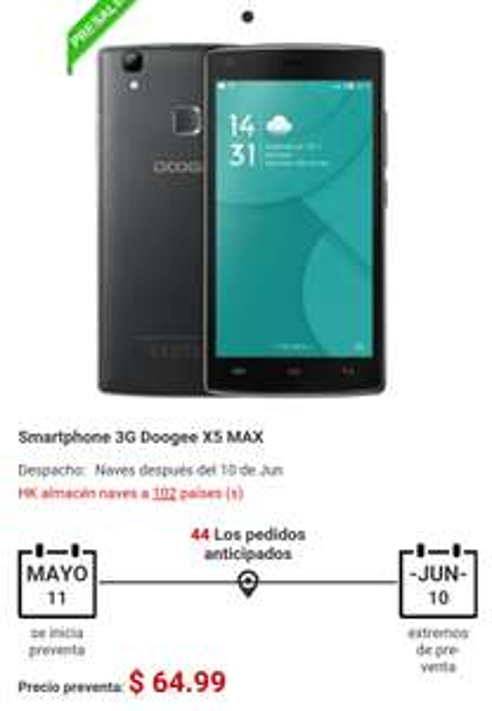 Gearbest: Preventa Doogee 5x Max (Sensor de huella)