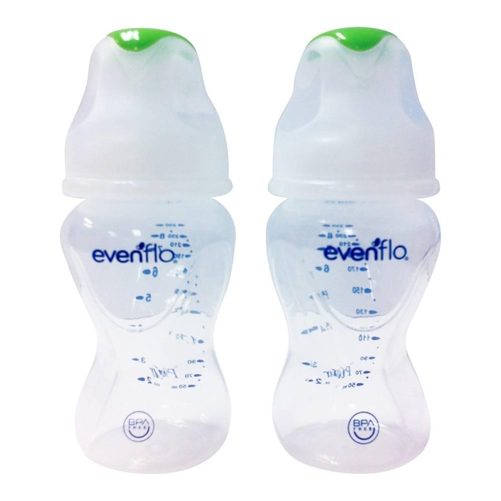 Walmart en línea: paquete de 2 biberones Evenflo Advanced 8oz verde