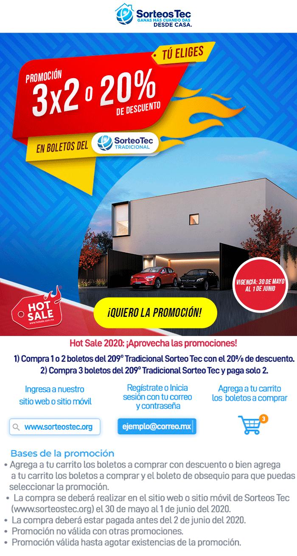 Hot Sale en Sorteo Tec: 3x2 o 20% en boletos del sorteo Tradicional