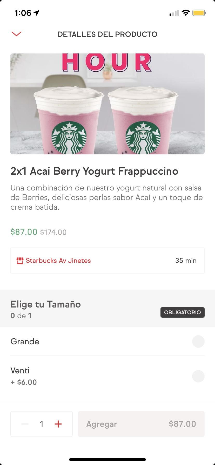 SinDelantal: 2x1 Acai berry yogurt Frappucino