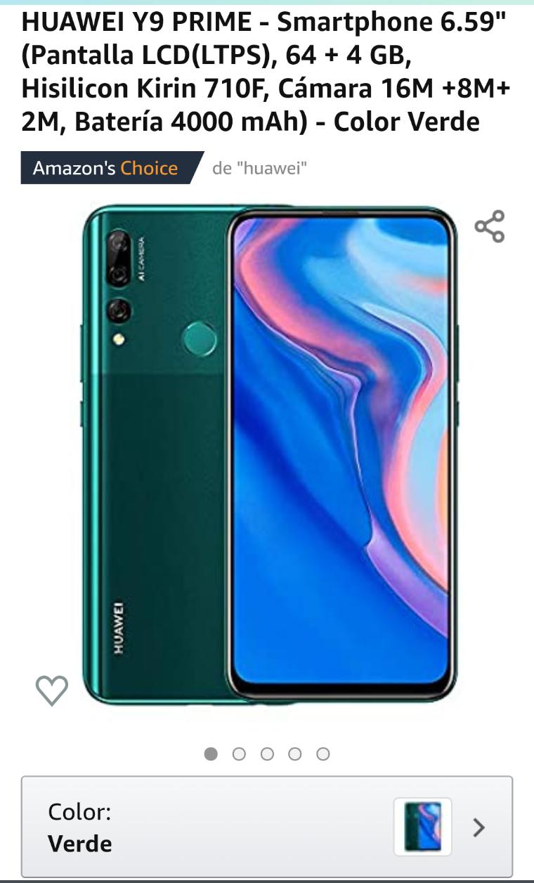 Amazon: Huawei y9 prime en color verde en 4517.50