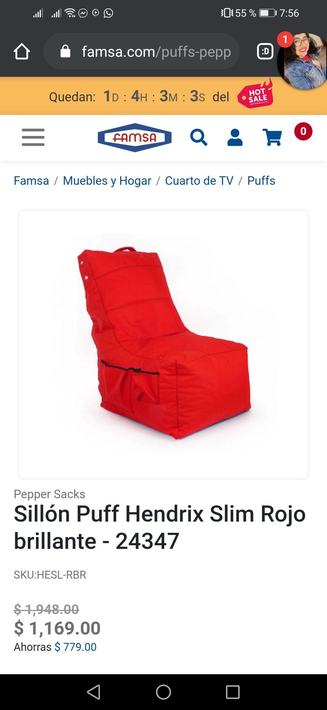 Famsa: Sillón Puff Hendrix Slim Rojo
