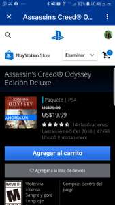 PSN: Assassins Creed Odyssey, para ps4 versión digital. 19.99 dolares