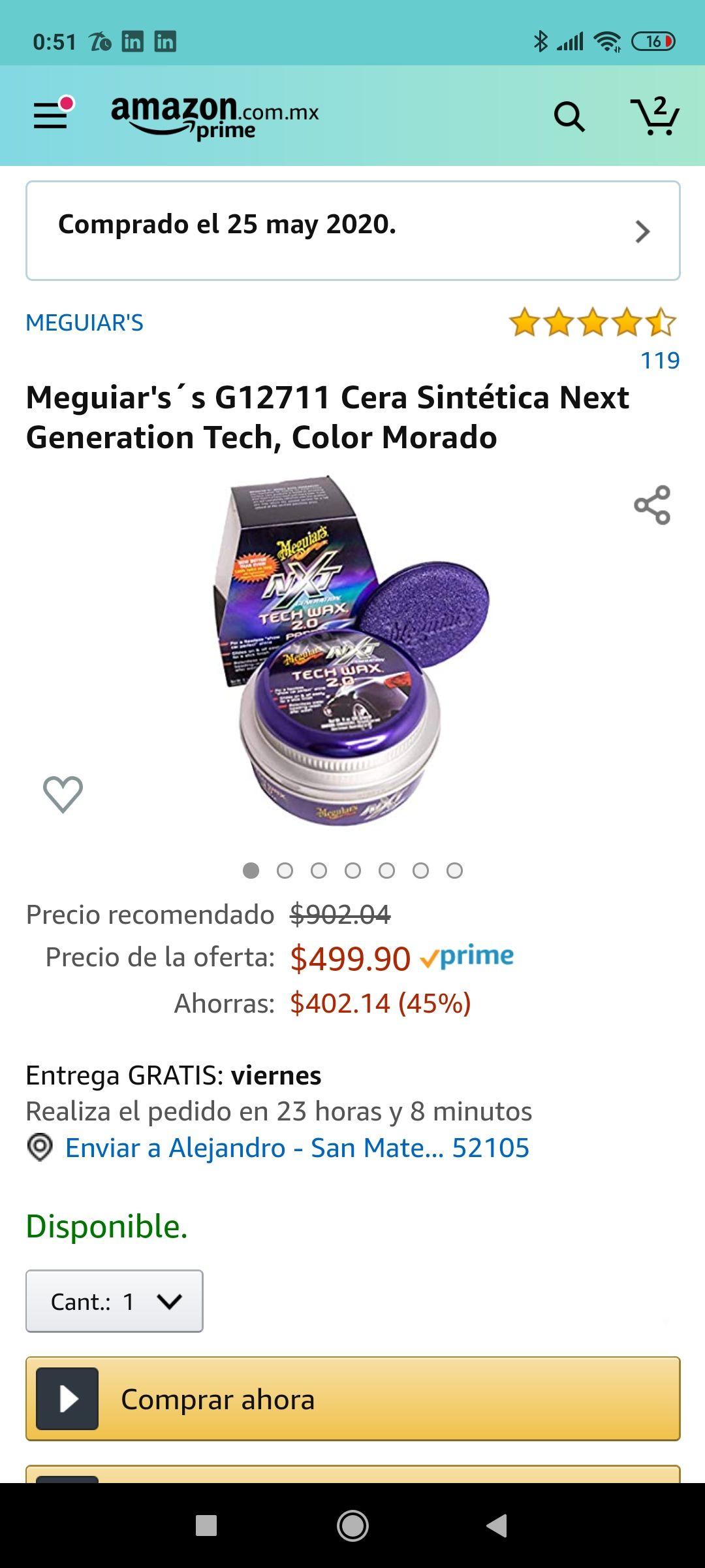 Amazon: Cera sintética Meguiar's Next