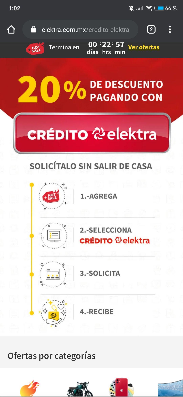 Vuelve en 20% de descuento directo con crédito Elektra