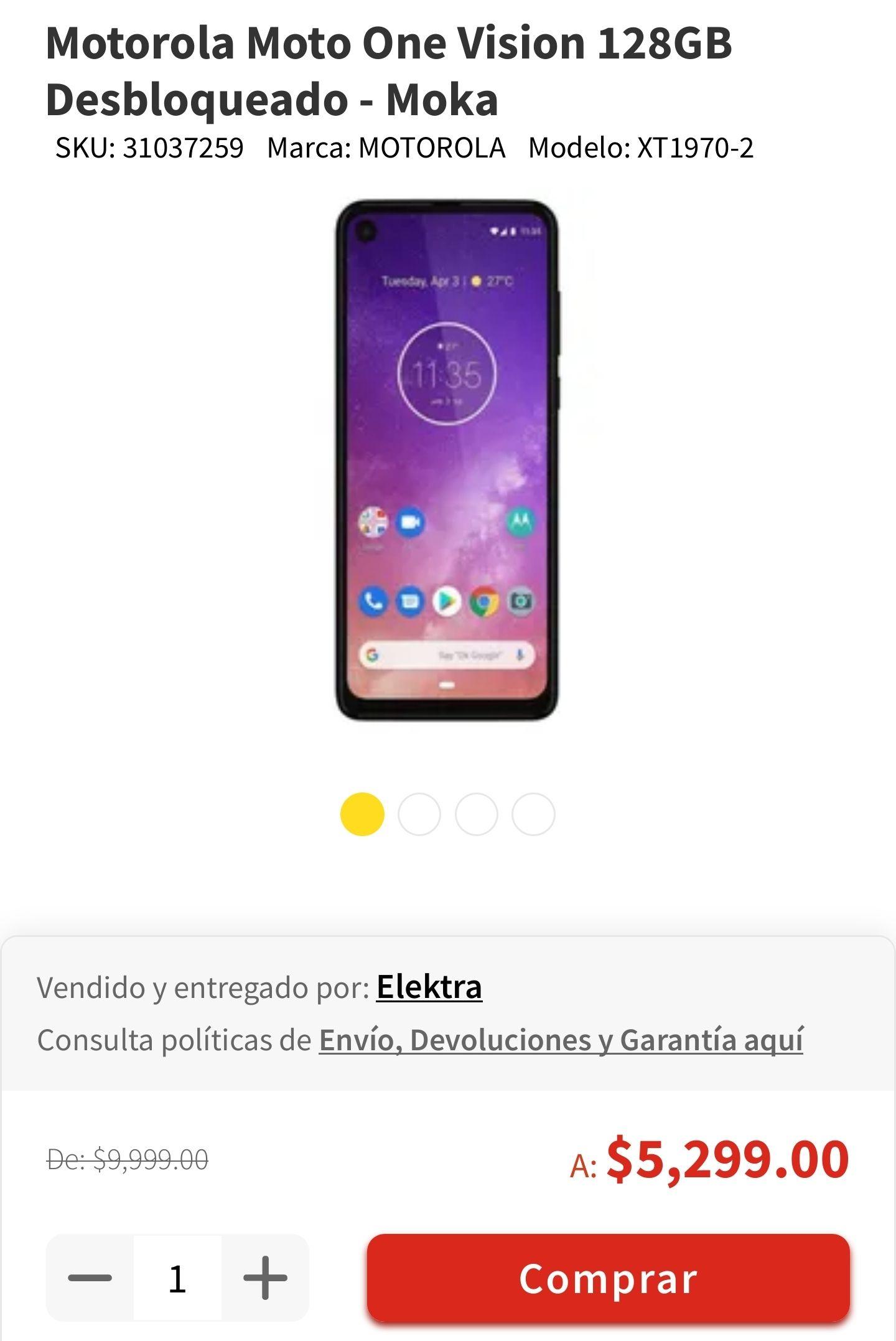 Elektra:Motorola Moto One Vision 128GB Desbloqueados (Con CitiBanmex) Actualizando