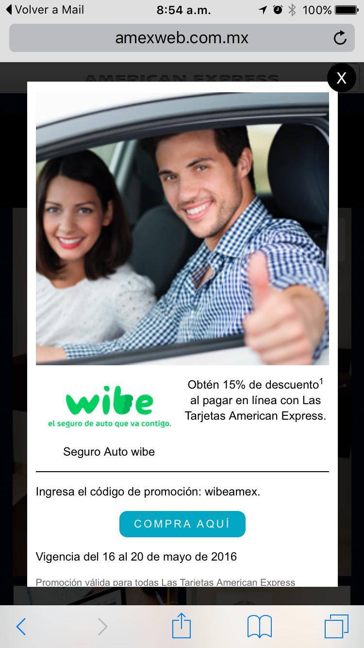 Wibe (BBVA): 15% de descuento en seguro de auto con American Express