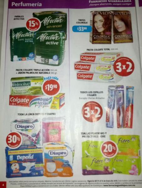 Folleto Farmacias Guadalajara: 40% menos en Tampax, Always y Duracell, 3x2 en cepillos Colgate y +