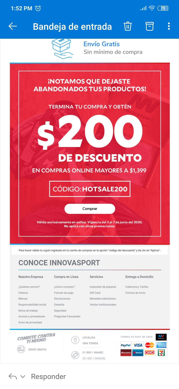 Innovasport:Cupón $200 de descuento en compra mínima de $1399